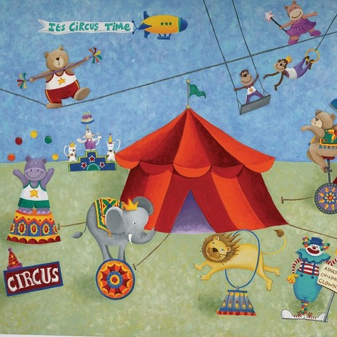 Big Top Circus Animals Giant Wallpaper Accent Mural - Roommates.. - image 1 of 2