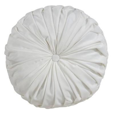 """14"""" Round Velvet Pintucked Pillow Poly Filled White - SARO Lifestyle"""