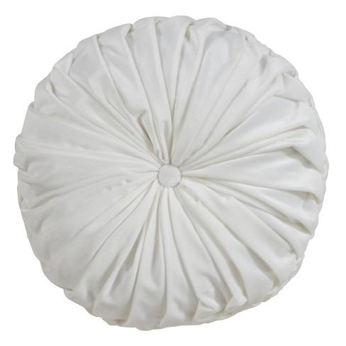 """14"""" Velvet Pintucked Poly Filled Round Throw Pillow White - Saro Lifestyle - image 1 of 4"""