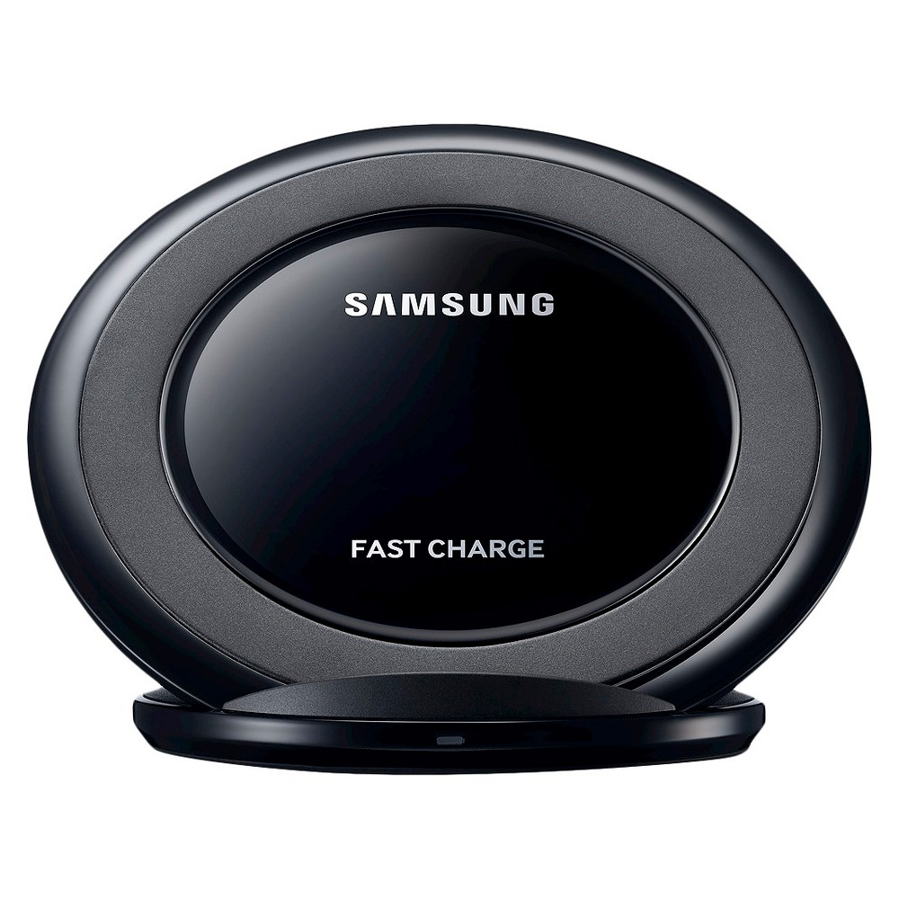 Samsung Wireless Charging Stand - Black Get fast and convenient charging with the Samsung Wireless Charging Stand - Black. This fast charge stand wirelessly charges your device - simply place your phone on the stand to charge and pick it up at any point to use.