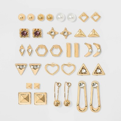 Star and Safety Pin Multi Earring Set 18pc - Wild Fable™ Gold