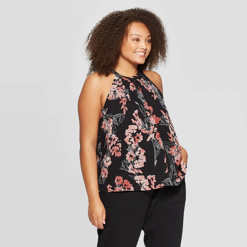 Image of Women's Plus Size Floral Print Sleeveless Mockneck Chiffon Halter Top - A New Day Black X