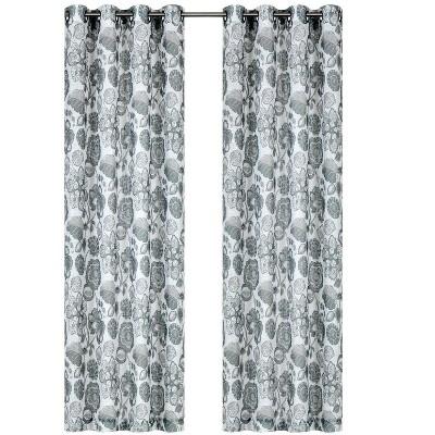Kate Aurora Key West Floral 2 Pack Grommet Sheer Curtain Panels