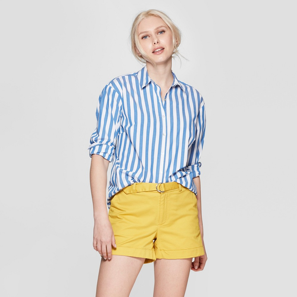 Women's Striped Relaxed Fit Long Sleeve Collared Woven Shirt - A New Day White/Blue Xxl