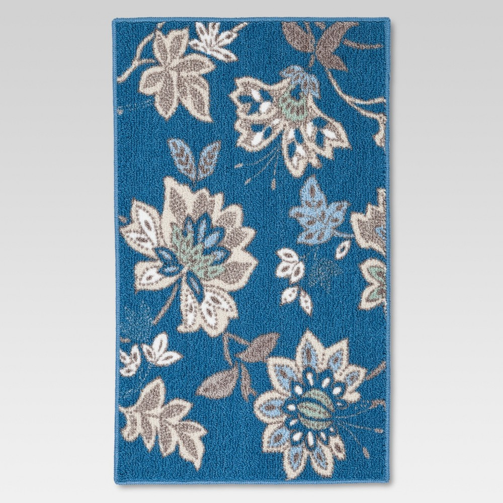 Blue Cool Floral Printed Kitchen Rug (1'8