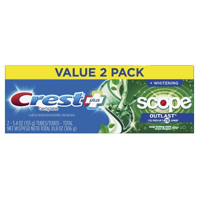 Crest + Scope Outlast Complete Whitening Toothpaste Mint - 5.4oz - Pack of 2