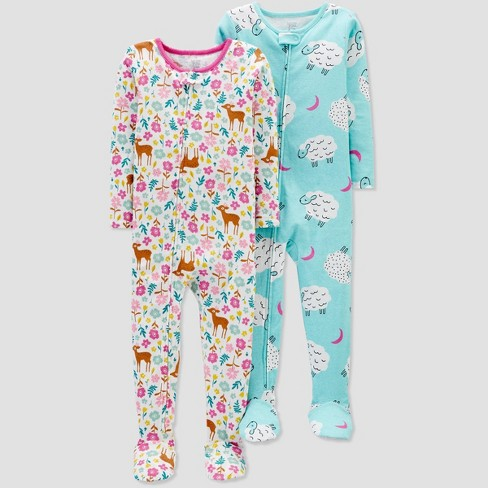Toddler Girls' 2pk Sheep & Deer Footed Pajama - Just One You® made by carter's Pink/Blue - image 1 of 1