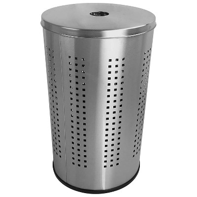 Krugg 46 Liter Modern Bed & Bath Clothes Basket Laundry Hamper Bin with Removable Lid For Dirty Clothes, Blankets, and Towels, Brushed Stainless Steel