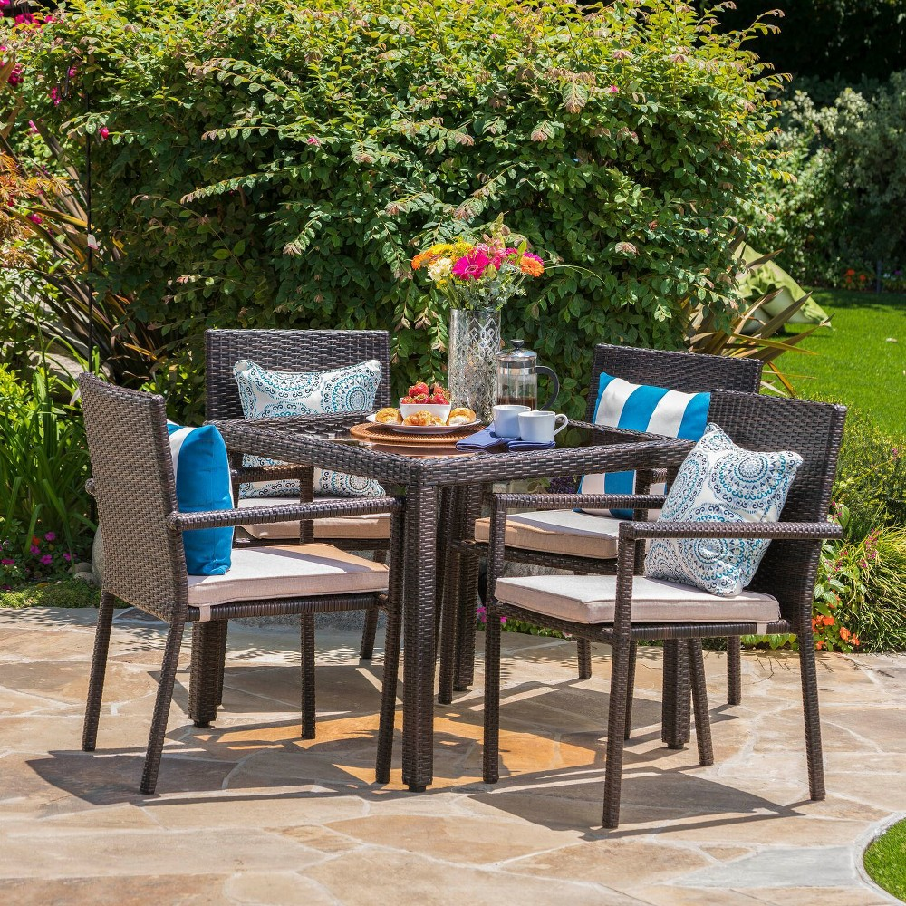 San Pico 5pc Wicker Dining Set - Brown - Christopher Knight Home