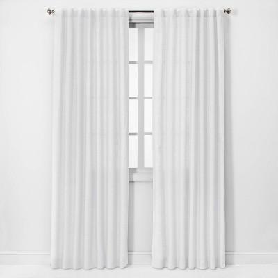 "108""x54"" Light Filtering Linen Curtain Panel White - Threshold™"