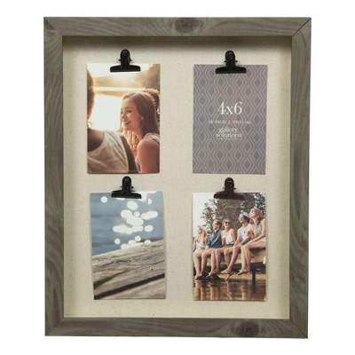 Multiple Image 14X18 Vertical 4 Clip Flat Charcoal Collage Frame - Gallery Solutions