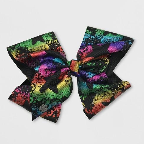 Girls' JoJo Siwa Black Bow with Rainbow Stars Hairclip - image 1 of 2