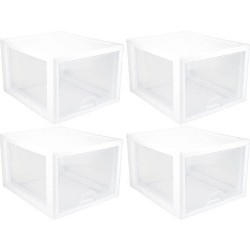 4 Pack) Sterilite 2310 27-Quart Modular Stacking Storage Drawer Box Containers