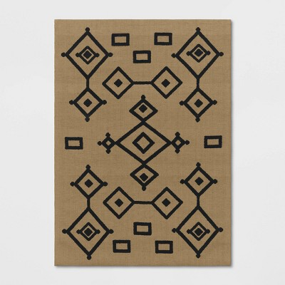 Fescue Hand Woven Natural Moroccan Geometric Printed Jute Area Rug - Opalhouse™