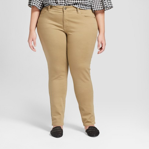 Women's Plus Size Skinny Jeans - Universal Thread™ Tan - image 1 of 3