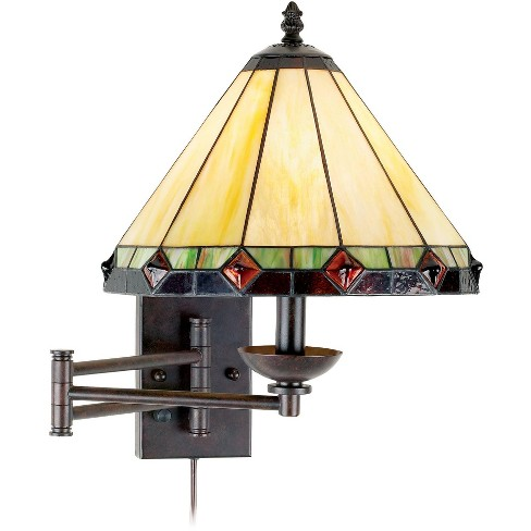 Robert Louis Tiffany Swing Arm Wall Lamp Bronze Plug-In Light Fixture Stained Glass for Bedroom Bedside Living Room Reading - image 1 of 4