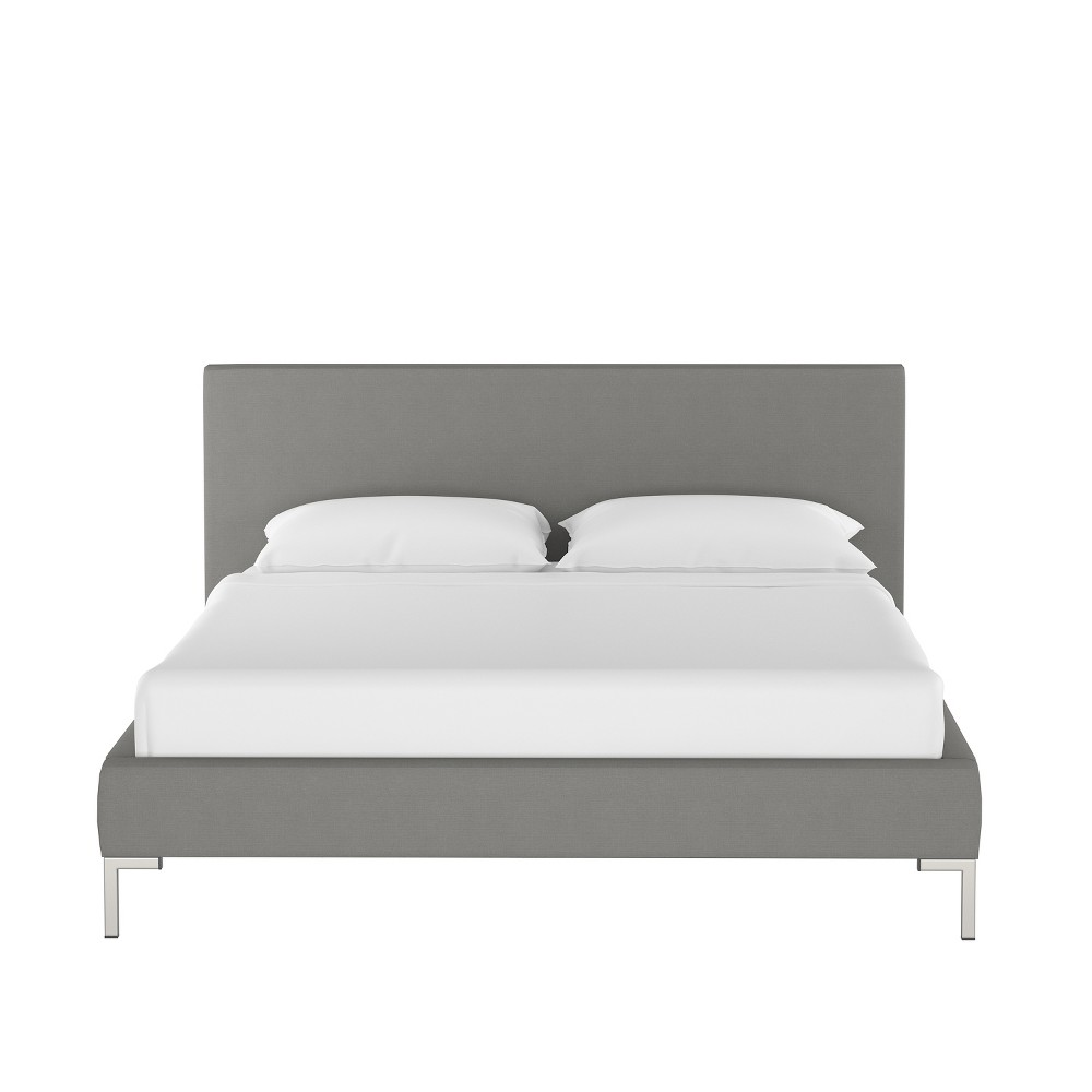 Twin Daisy Platform Bed with Silver Metal Y Legs Gray Linen - Cloth & Co.