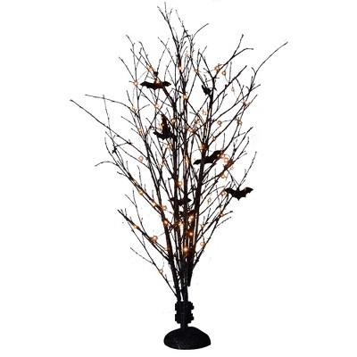 "Northlight 50"" Pre-Lit LED Black Bamboo Halloween Branch Tree"