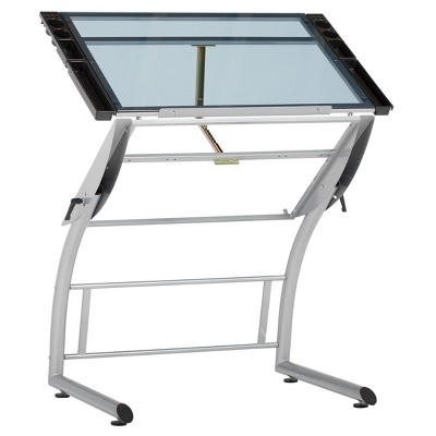 Attrayant Triflex Drawing Table  Silver/Blue Glass   Studio Designs
