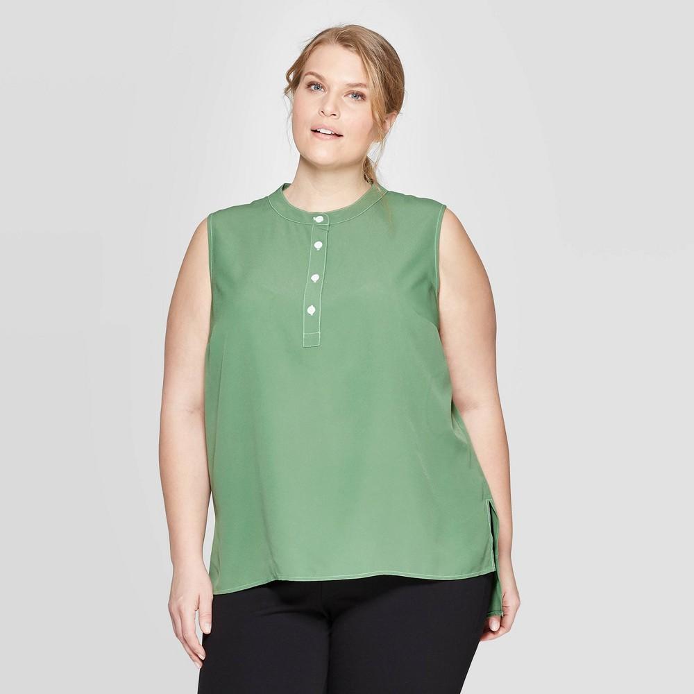 Women's Plus Size Sleeveless Button Front Woven Neck Tank Top - Prologue Green 2X