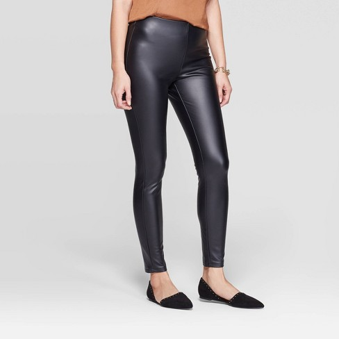 Women's Slim Fit Mid-Rise Faux Leather Leggings - A New Day™ Black XL - image 1 of 3