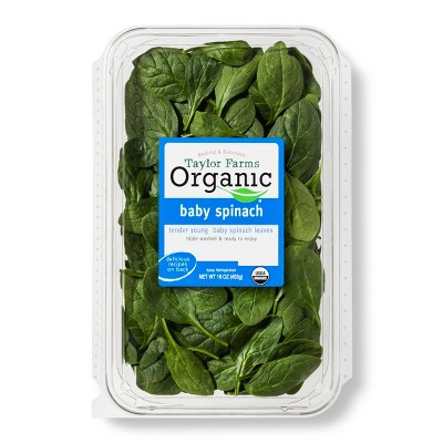 Taylor Farms Organic Baby Spinach - 16oz Package