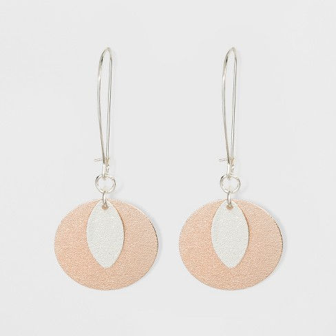 Diamond Dust Coin and Leaf Earrings - A New Day™ Silver/Rose Gold - image 1 of 2