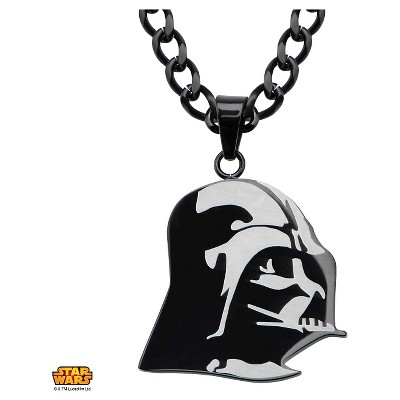 """Men's Star Wars Darth Vader Stainless Steel Stainless Steel Pendant Ion Plated - Black (22"""")"""