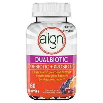 Align DualBiotic Prebiotic+Probiotic Gummies - Natural Fruit Flavors - 60ct