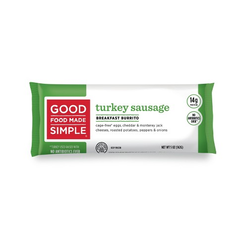Good Food Made Simple Eggs, Cheese & Turkey Sausage Frozen Breakfast Burrito - 5oz - image 1 of 4