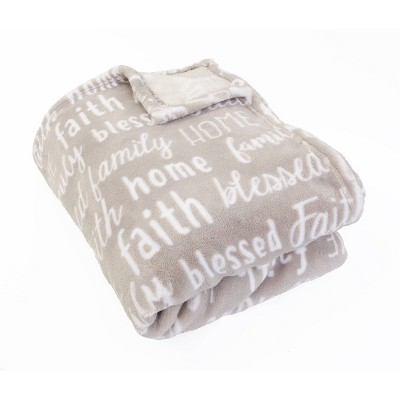 "50""x70"" Pearson Family Words Printed Loft Fleece Throw Gray - Décor Therapy"