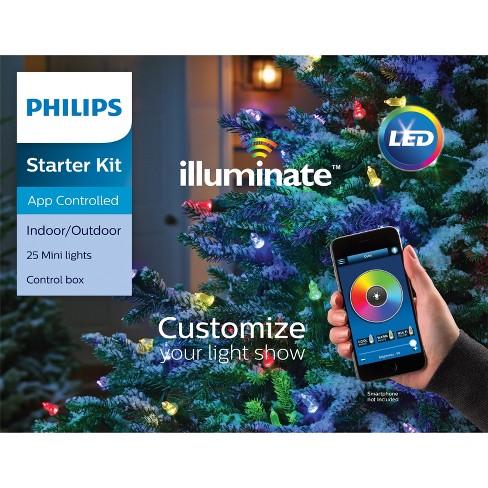 philips 25ct christmas led illuminate starter kit lights smooth mini gw target