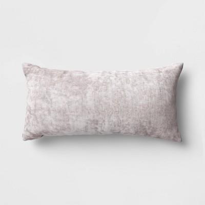 Oversized Velvet Lumbar Throw Pillow Gray - Threshold™