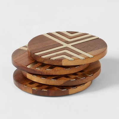 Set of 4 Coasters Natural Acacia with Gold Metal - Threshold™