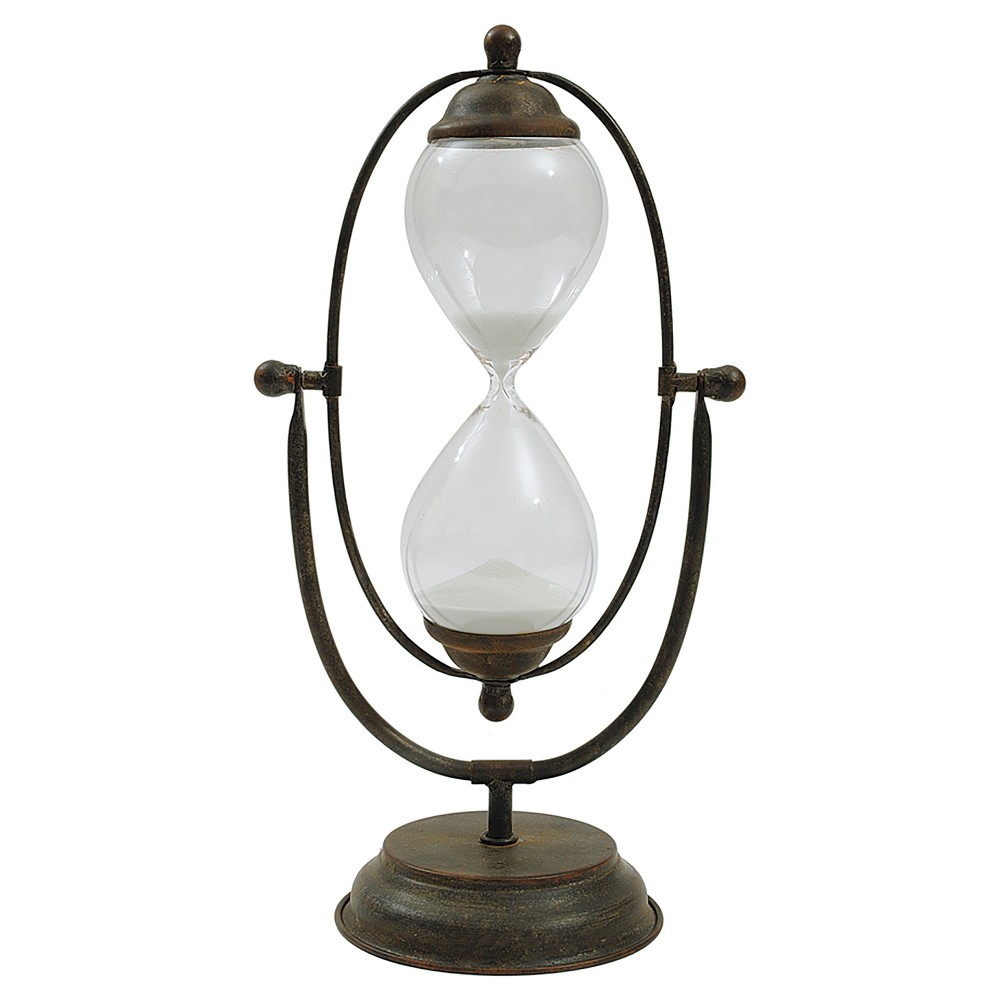 """Image of """"Decorative Metal and Glass Hour Glass (7-3-4""""""""L x 14-1-2""""""""H), Multi-Colored"""""""