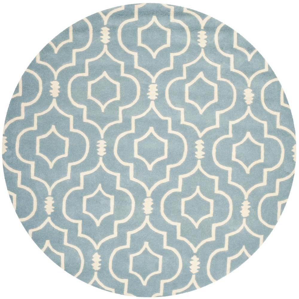 Best Shopping 7 Geometric Tufted Round Area Rug BlueIvory Safavieh
