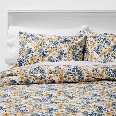 Full/Queen Floral Printed Family Friendly Duvet Cover & Sham Set Yellow - Threshold™