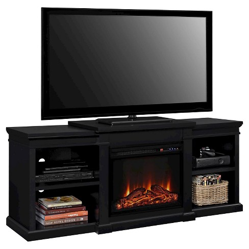 Union Electric Fireplace TV Stand With Side Shelves For TVs Up To 70
