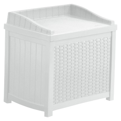 Resin Wicker Storage Seat 22 Gallon White - White - Suncast