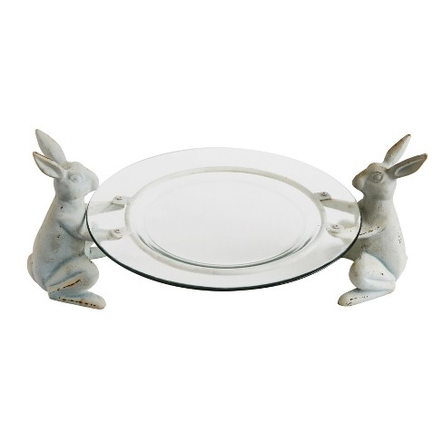 Cast Iron Rabbit Plate Holder Set of 2 - White - 3R Studios - image 1 of 2