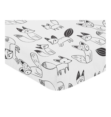 Sweet Jojo Designs Black and White Fox Fitted Crib Sheet