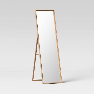 "18"" x 65"" Classic Wood Floor Mirror Natural With Easel - Threshold™"