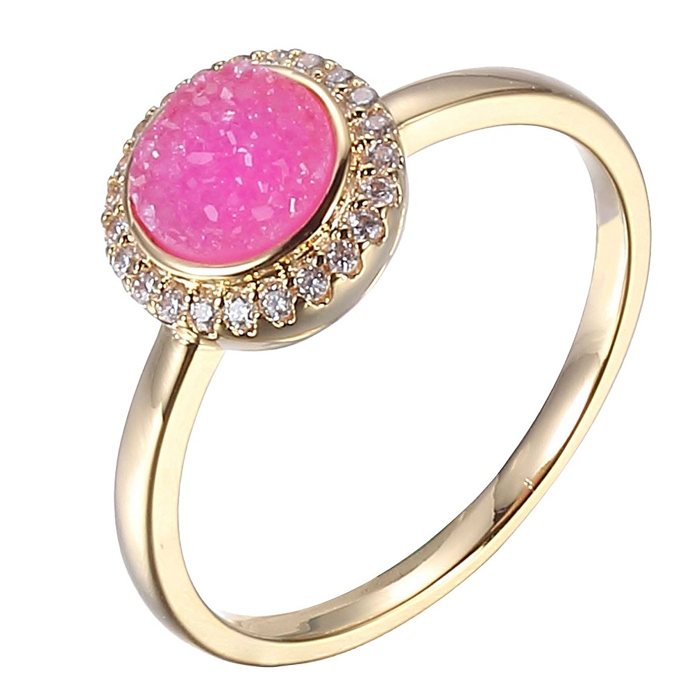 Image of 18k Yellow Gold Plated Sterling Silver Magenta Pink Dyed Genuine Druzy and Cubic Zirconia Halo Ring, Women's, Size: Large, Gold Pink