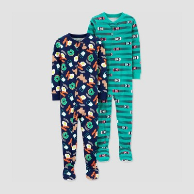 Baby Boys' 100% Cotton 1pc Footed Pajama - Just One You® made by carter's Blue 12M