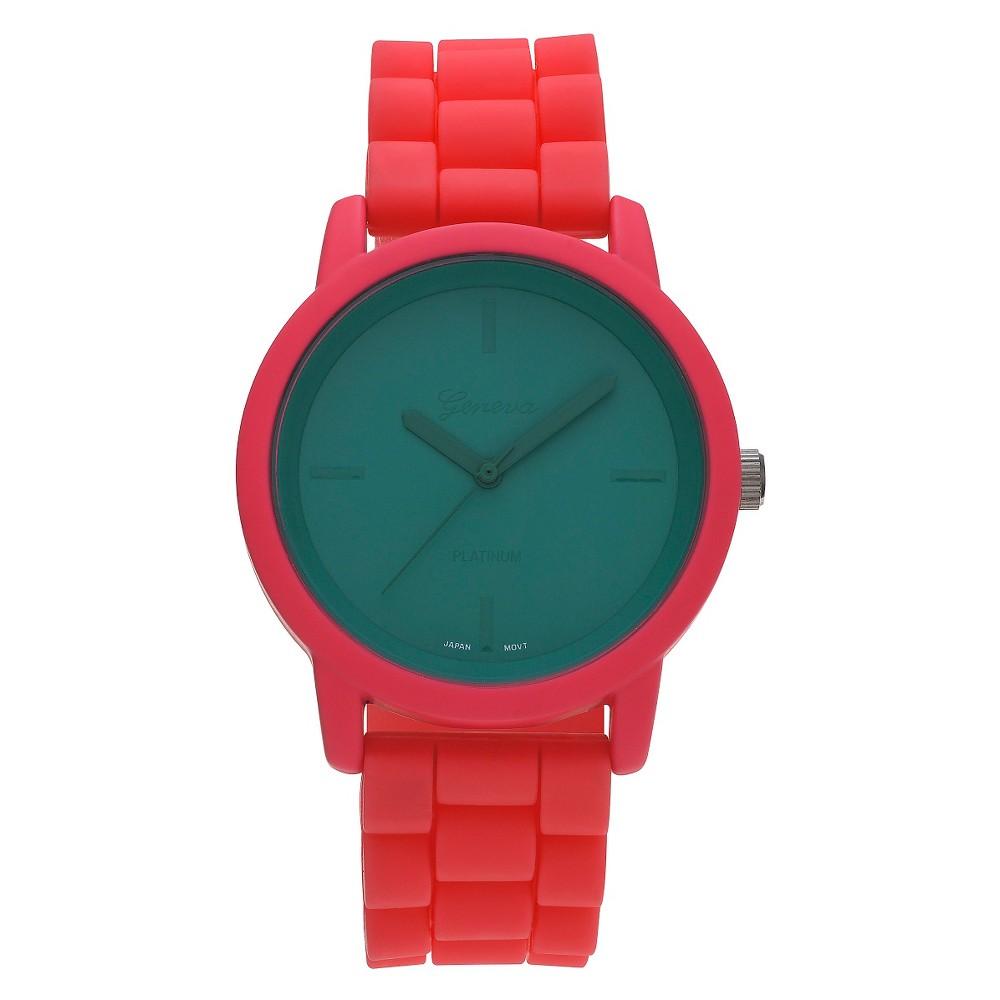 Unisex Geneva Platinum Modern Multi Color Strap Watch - Turquoise/Coral