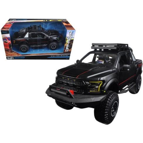 2017 Ford F 150 Raptor Pickup Truck Matt Black Off Road Kings 124 Diecast Model Car By Maisto