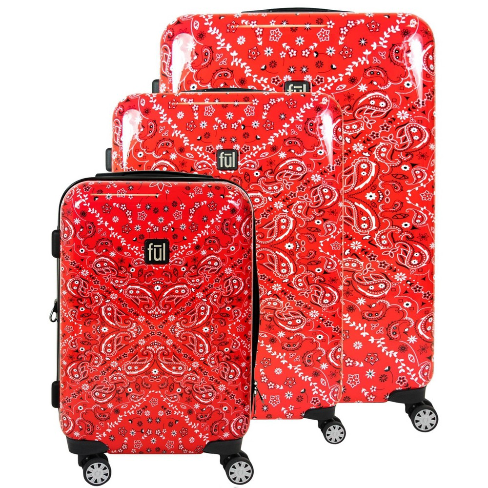 Image of FUL 3pc Bandana Hardside Luggage Set - Red, Size: Small