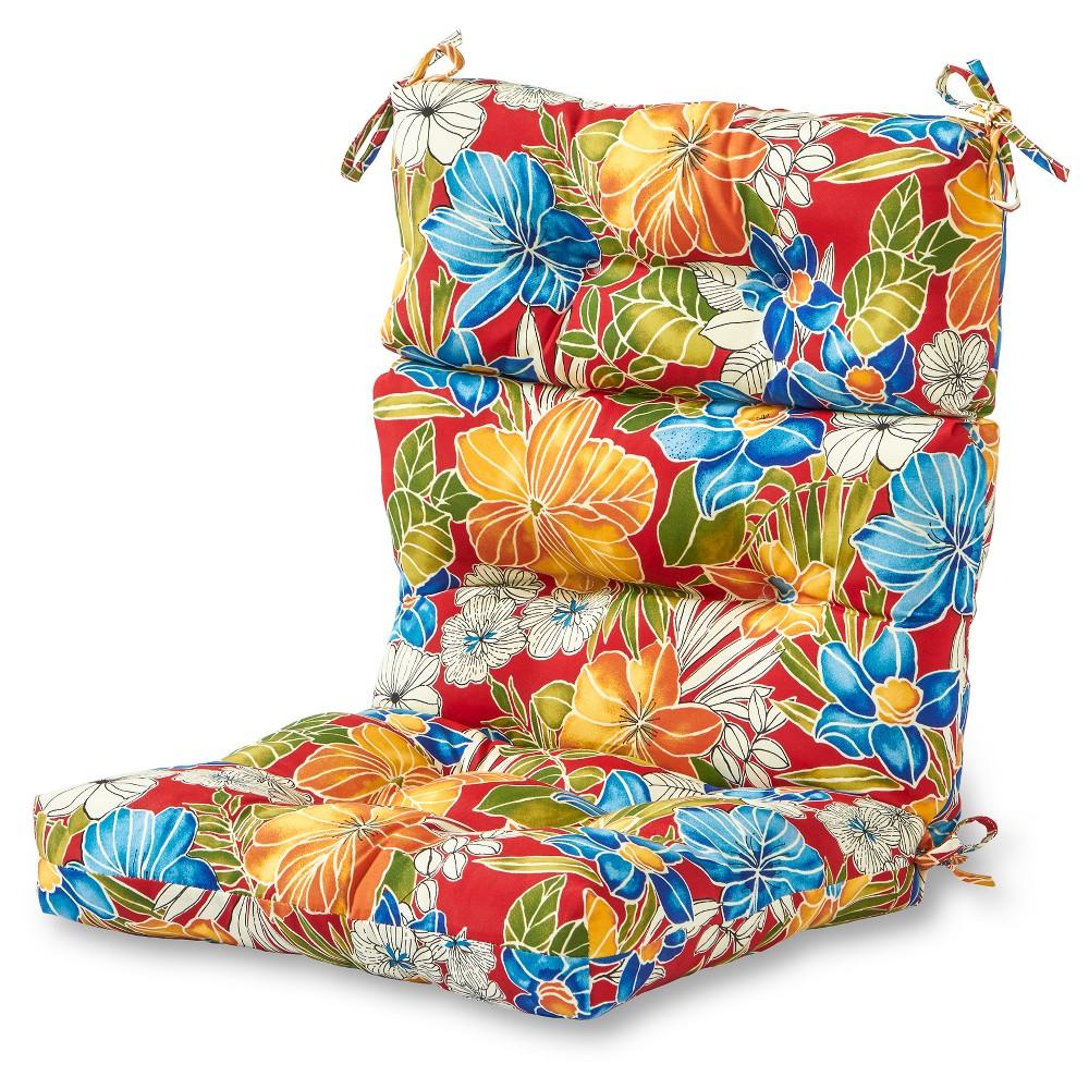 Image of Aloha Red Floral Outdoor High Back Chair Cushion - Kensington Garden