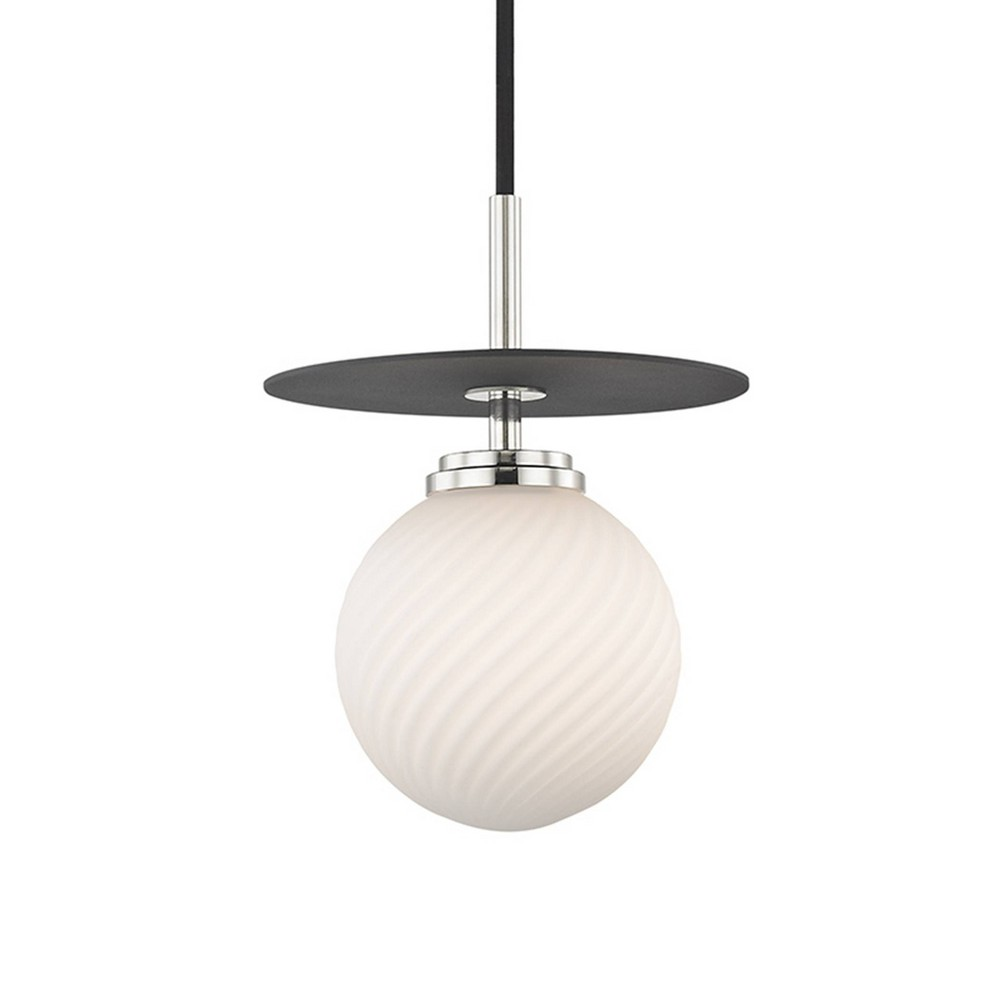 Ellis 1-Light Small Light Pendant Chandelier Polished Nickel/Black - Mitzi by Hudson Valley Price
