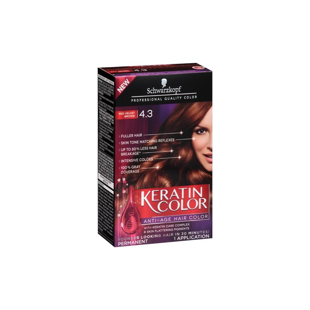 Schwarzkopf Keratin Color Anti-Age Hair Color 4.3 Red Velvet Brown - 2.03 fl oz
